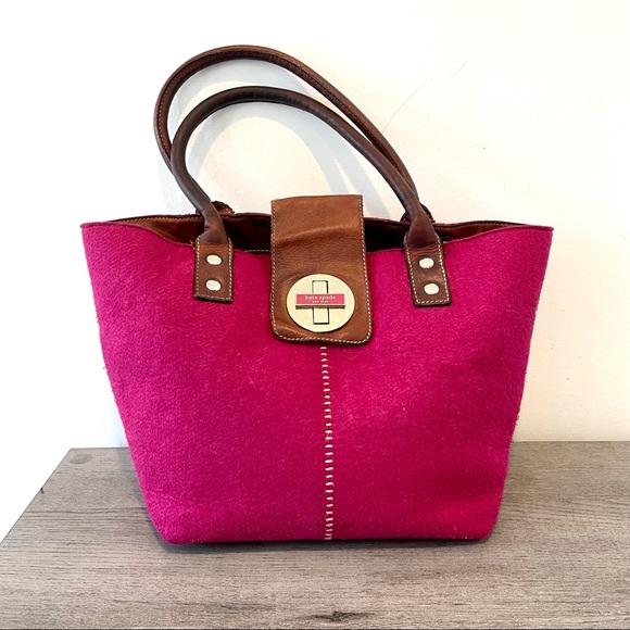 Kate Spade raspberry felt & brown leather satchel